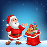 Cartoon funny Santa with sack on a night sky background Royalty Free Stock Images