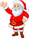 Cartoon funny Santa waving hand isolated on white background Stock Photo