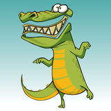 Cartoon funny scary toothy crocodile is standing on one leg Stock Photos
