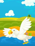 Cartoon funny scene with traditional happy animal character - eagle Stock Images