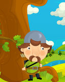 Cartoon funny scene with traditional happy character - knight - archer Royalty Free Stock Photos