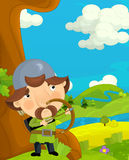 Cartoon funny scene with traditional happy character - knight - archer Royalty Free Stock Images