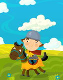 Cartoon funny scene with traditional happy character - knight Royalty Free Stock Image
