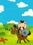 Cartoon funny scene with traditional happy character - knight Stock Photo