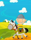 Cartoon funny scene with traditional happy character - knight Royalty Free Stock Images