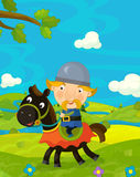 Cartoon funny scene with traditional happy character - knight Stock Image