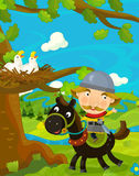 Cartoon funny scene with traditional happy character - knight Royalty Free Stock Photography