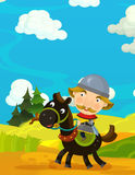 Cartoon funny scene with traditional happy character - knight Stock Photos