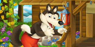 Cartoon funny scene with wolf in front of wooden farm house Royalty Free Stock Photography