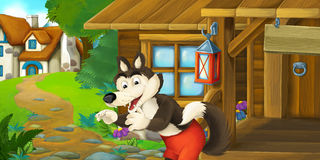 Cartoon funny scene with wolf in front of wooden farm house Stock Photos