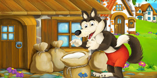 Cartoon funny scene with wolf in front of wooden farm house Royalty Free Stock Images