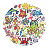 Cartoon Funny Sea Life,fish circle background.Pastel colors. Sea life animals set in circle composition .Fish,  octopus, crab, seahorse with coral,seaweed and Royalty Free Stock Images