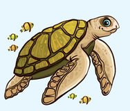 Cartoon funny sea turtle Stock Image