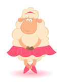Cartoon funny sheep - ballet dancer. Royalty Free Stock Photo