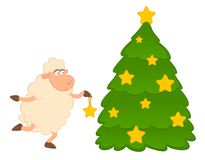 Cartoon funny sheep dresses up a fir-tree. Royalty Free Stock Photos