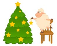 Cartoon funny sheep dresses up a fir-tree. Stock Photo