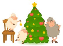 Cartoon funny sheep dresses up a fir-tree. Stock Photography