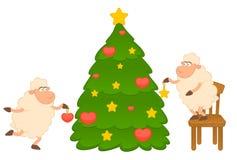 Cartoon funny sheep dresses up a fir-tree. Stock Photos