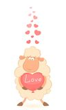 Cartoon funny sheep holds a heart Royalty Free Stock Photo