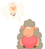 Cartoon funny sheep holds a heart. For a design Stock Photos