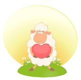Cartoon funny sheep holds a heart Stock Images