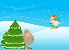 Cartoon funny skier sheep Royalty Free Stock Image