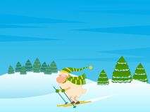 Cartoon funny skier sheep. Royalty Free Stock Image