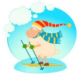 Cartoon funny skier sheep. Royalty Free Stock Photos
