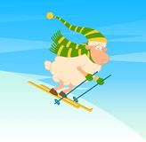 Cartoon funny skier sheep. Royalty Free Stock Photography
