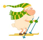 Cartoon funny skier sheep for a design Stock Photography