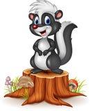 Cartoon funny skunk on tree stump Royalty Free Stock Photos