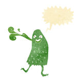 Cartoon funny slime monster with speech bubble Stock Photos