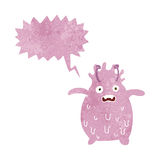 Cartoon funny slime monster with speech bubble Royalty Free Stock Photos