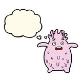 Cartoon funny slime monster with thought bubble Royalty Free Stock Photo