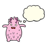Cartoon funny slime monster with thought bubble Stock Image