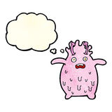 Cartoon funny slime monster with thought bubble Stock Photography