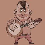 Cartoon funny smiling male musician plays banjo stock illustration
