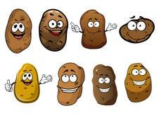 Cartoon funny smiling potatoes vegetables Stock Photos