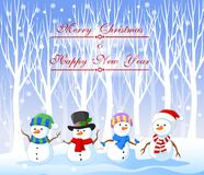 Cartoon funny snowman with christmas background. Illustration of Cartoon funny snowman with christmas background Stock Image