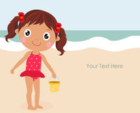 Cartoon funny summer little girl dressed swimsuit. Cartoon Royalty Free Stock Photography