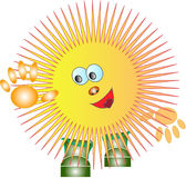 cartoon funny sun in the boots Royalty Free Stock Image