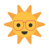 Cartoon funny sun with sunglasses smile. Vector illustration eps 10 Royalty Free Stock Photos