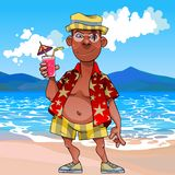 Cartoon funny tanned tourist stands with a cocktail by the sea. Cartoon funny tanned tourist stands with cocktail by the sea stock illustration