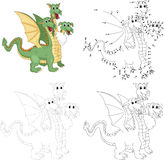 Cartoon funny three headed dragon. Dot to dot game for kids Stock Photos