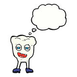 cartoon funny tooth character with thought bubble Royalty Free Stock Images