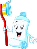 Cartoon funny toothpaste and toothbrush. Illustration of Cartoon funny toothpaste and toothbrush vector illustration