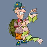 Cartoon funny tourist with backpack looking at a detailed map. Cartoon funny tourist with backpack looking at detailed map royalty free illustration