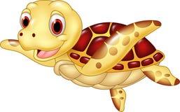 Cartoon funny turtle isolated on white background Stock Photos