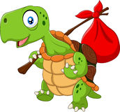 Cartoon funny turtle traveling Stock Photos