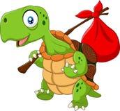 Cartoon funny turtle traveling Stock Photos